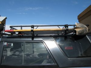 Roofrack with Shovel head to the rear Open Sky Touring