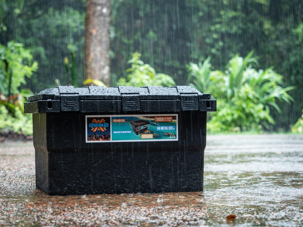 Expedition 134 Black storage box in heavy rain