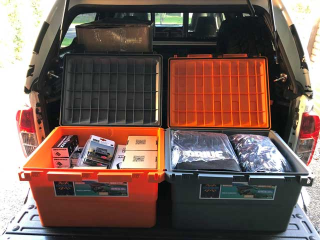 expedition 134 camping storage boxes orange grey open