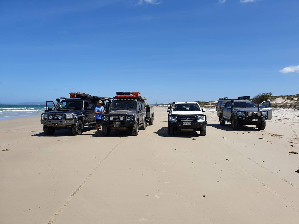 Cape York Camping Vehicles on the Beach Open Sky Touring