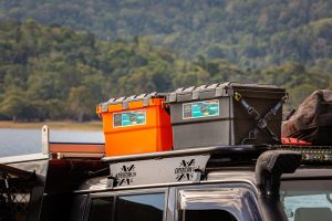 Cape York Camping tie-down straps/boxes on roof Open Sky Touring