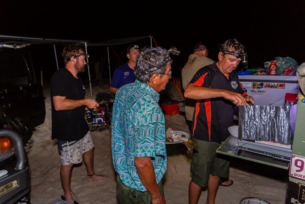 Cape York Camping cooking trout Open Sky Touring