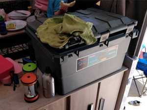 Caravan Cremulator with camping storage box Open Sky Touring