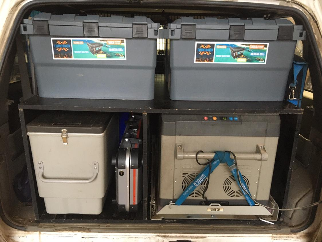 Rear of Wagon with camping storage boxes - MB Open Sky Touring