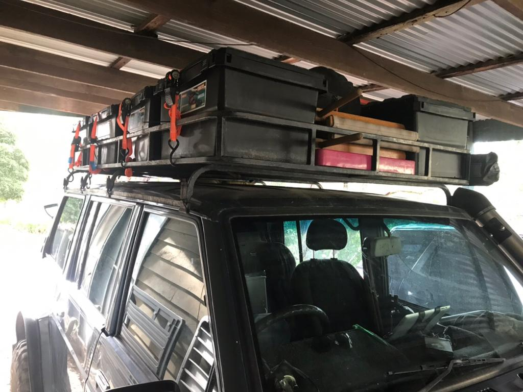 camping storage boxes on Roof Rack 2 - AB Open Sky Touring