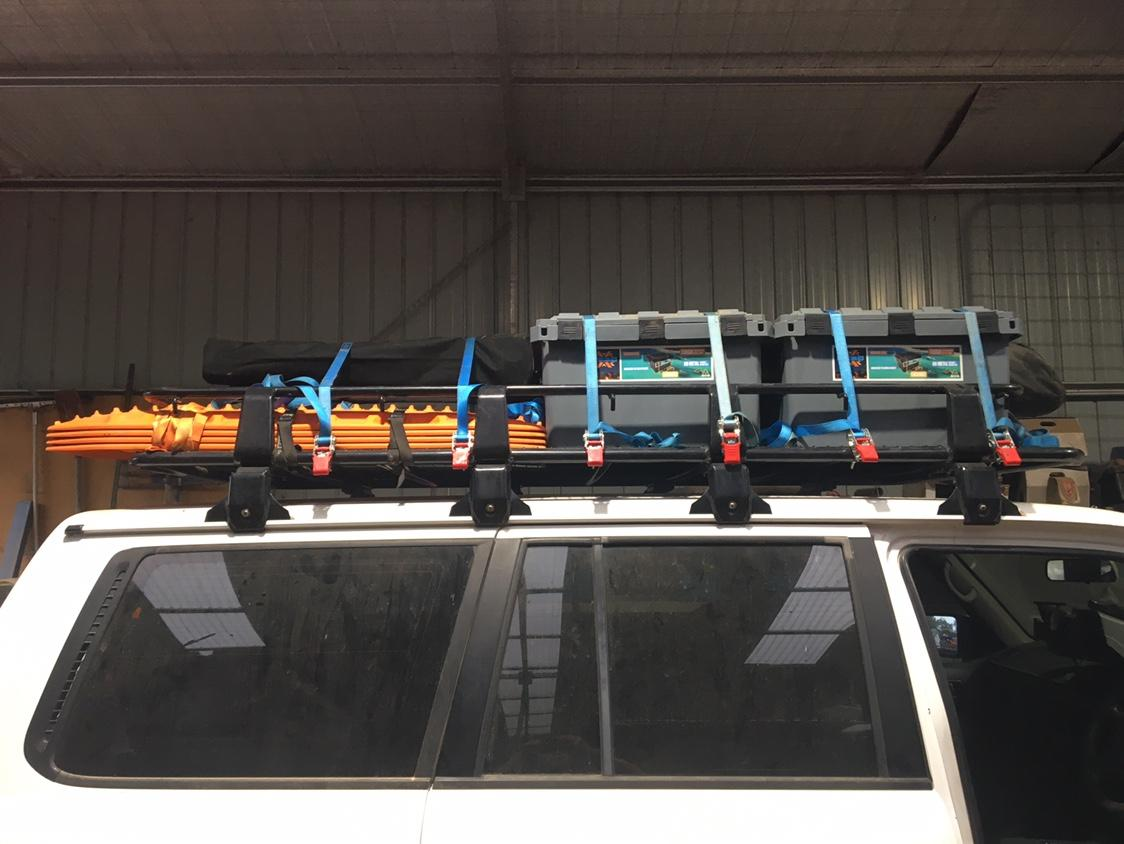 camping storage boxes on Roof Rack - MB Open Sky Touring